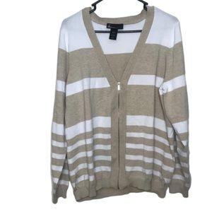 Lane Bryant Tan & White Striped Zip Up Cardigan